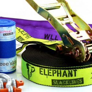 Elephant-Slacklines-Australia-25meter-Freak-fluro-yellow-slings-shackles-tree-protection-zoom-in