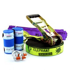 Elephant-Slacklines-Australia-25meter-Freak-fluro-yellow-slings-shackles-tree-protection